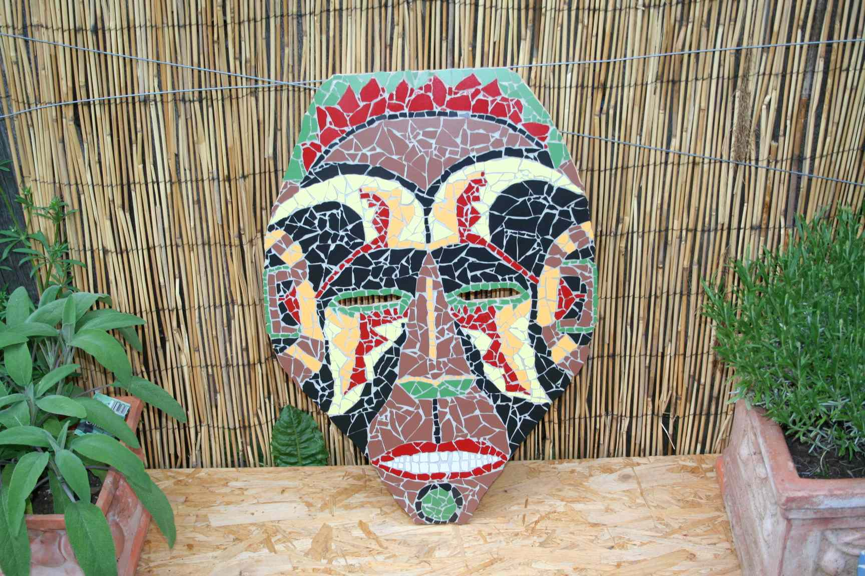 mosaikbild afrikanische maske katuschka s celticgarden. Black Bedroom Furniture Sets. Home Design Ideas